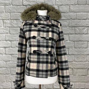 Pink VS Pink Plaid Fur Trimmed Wool Coat